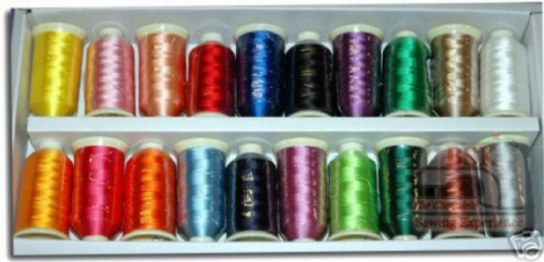 Marathon Embroidery Rayon Thread Box of 20 x 1,000mtr Spools of Popular Colours